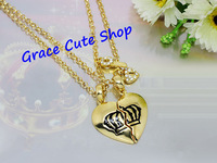 Free Shipping Broken Heart Pendant Necklace Fashion Jewelry Gold/Silver Plating Top Quality (Dust Bag,Gift Box) #JCN087