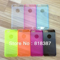 High Quality 0.5mm Ultra Thin Slim Matte Frosted Transparent Clear Hard Shell Cover Case For iPhone 5 5G Double Color 10pcs/lot