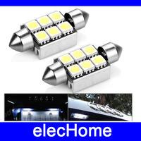 36mm 6 leds SMD 5050 Car LED Light Lamp Bulb White Dome Festoon CANBUS OBC Error Free 12V Free Shipping