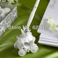 Fairytale Coach Wedding Pen Set In White Resin