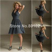 In Fashion Elegant Style 204130 Luxe Chiffon  Charcoal Mini Length vintage Short bridesmaid dresses 2014