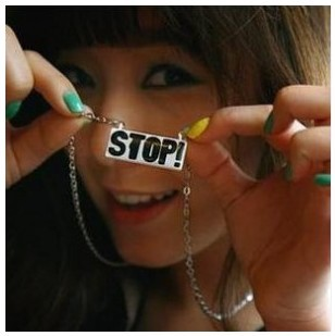 hot selling 2015 accessories fashion street personality stop letter pendant long necklace small accessories 0125