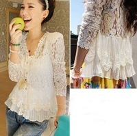 2013 skinny shoulder pad precious mosaic lace shirt cardigan sunscreen shirt air-conditioning
