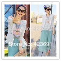 At stock!!! shoulder pads exteravagant patchwork cutout lace shirt cardigan sun protection shirt air conditioning shirt
