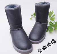 knee-high metal waterproof grey snow boots sheepskin wool one piece boots fur boots male Women plus size