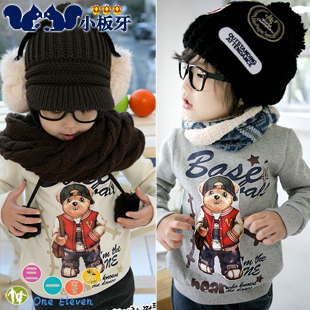 2013 autumn children's clothing cartoon bear child male child baby thickening long-sleeve pullover sweatshirt 3841