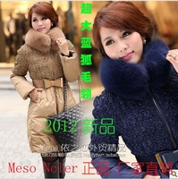 2013 Free shipping, hot popular world famous brand new Mesoncler blue fox fur collar medium-long down coat female slim outerwear