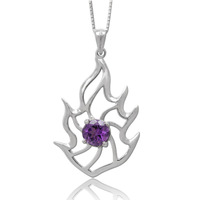 Jewelry 925 silver amethyst pendant large size 33*19mm