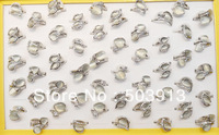 Free P&P Wholesale Jewelry Lots 50pcs Top Design Rhinestone Cat Eye Stone Silver P Rings Mix Fashion Wedding/Bridal jewelry