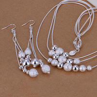 S071 Lose money promotion! High quality 925 sterling silver jewelry sets, fashion three-wire multi-bead necklace jewelry set