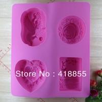 Free shipping (4pcs/lot) chocolate silicon mold Cake decoration mold