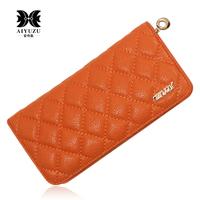 Women's wallet cowhide classic plaid Women day clutch women's multi card holder wallet
