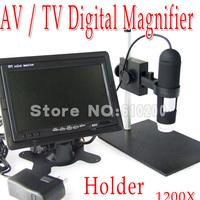 "Free shipping Haploid 1200X AV/TV Digital Microscope+7"" HD LCD+Holder 8LED Industrial biotechnology Research Test room"