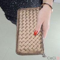 Fashion normic handmade knitted plaid lovers design wallet zipper women's long design wallet