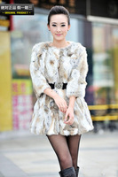 2013  woman mixed color real natural rabbit Fur long coat  female fur vest overcoat with 3 quarter sleeve
