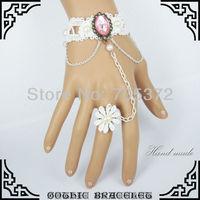 10Pcs /Lot Fashion Women Jewelry Vintage White Lace Charm Bracelet Chain Rhinestone Slave Bracelet For Woman  Wedding Jewelry