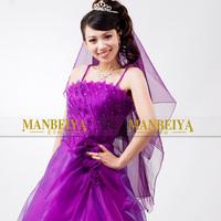 Wedding dress veil purple bridal veil can do cape ts032 purple veil