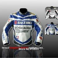 Good Quality Training jacket Motorcycle Racing Jacket PU Leather Racing protection jacket Blue/White Free shipping