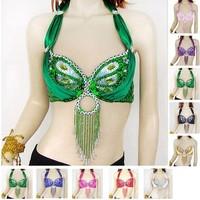 Women Sexy Belly Dance Dancing Costume Sequin Beaded Dance Club Bra Top 10color