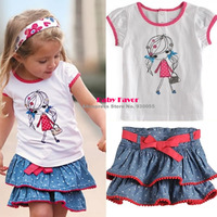 Free Shipping  2Pcs Baby Girl Kids Children Casual T-shirt Top+Skirt Petticoat Tutu Outfit Clothes Costume Wear Suits Sets 1-6Y