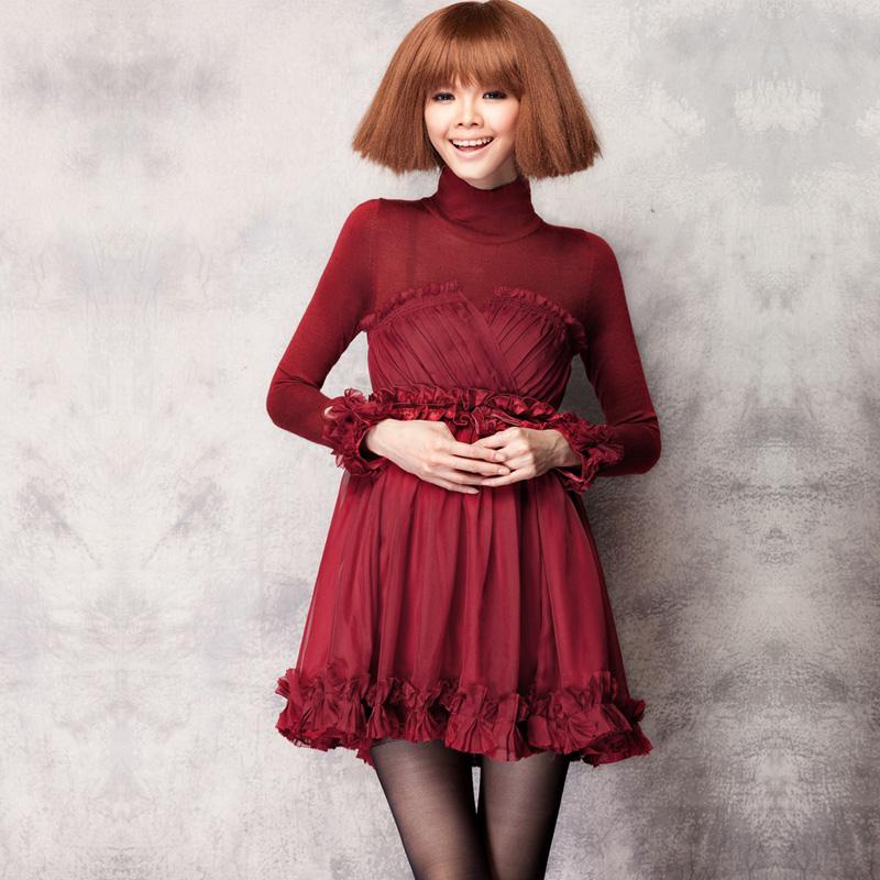 ... Turtleneck-Petal-Long-Sleeve-Dresses-Lady-Basic-Wool-Patchwork-Dress