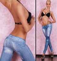 New Arrive fashion girl women fake Jeans Look Leggings Black Blue
