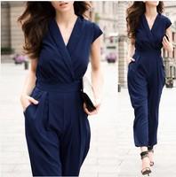 Hot Sale Fashion Pure Color Chiffon Women'S Boutique Unique V-Neck Short Sleeve Double Pocket Elastic Waist Jumpsuits