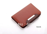 2013 popular Classic Leopard Grain Wallet Style Mobile Phone Leather with Holder Case for iphone 4