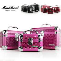 Free Shipping Retail The Body Shop High Grade Pink Leather Aluminum Makeup Case Makeup Box
