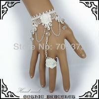 10Pcs/Lot White Lace Bracelet Slave Rose Flower Finger Band Beauty Bride Wedding Jewelry Fashion Charm Womens Retro Bracelet
