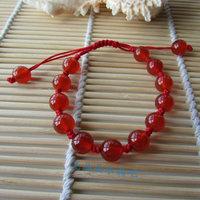 Red agate 8mm beads knitted bracelet crystal bracelet