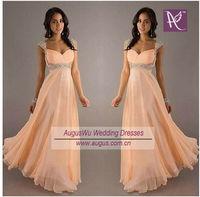 AEL3071 Instock  Elegant Lady Peach Chiffon Cap Sleeve Long Evening Dress