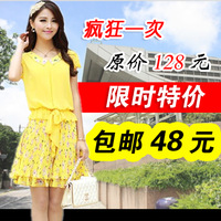 Chiffon one-piece dress summer 2013 peter pan collar one-piece dress plus size