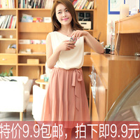 2013 summer chiffon skirt women's gentlewomen pleated chiffon one-piece dress female skirt