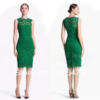 2013 Fashion Slim o neck sleeveless lace dress 5724 white green black