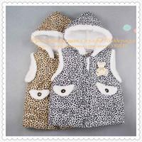 Girls' Lovely Leopard Cotton Waistcoat Vest For Girls Zhilet Zhiletka Sunlun Russian Support Free Shipping 2013 SCG-9005