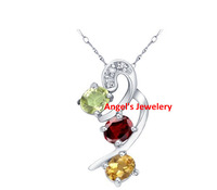 Fast Free shipping,Elegant Necklace Pendant with Natural Citrine, Garnet and Peridot,  Natural Gemstone  Necklace Pendant