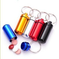 20pcs/lots Waterproof Aluminum Medicine Pill Box Case Bottle Cache Drug Holder Keychain Container Free Shipping