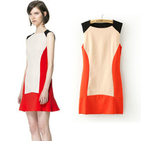 Summer new arrival 2013 back sexy patchwork color block knitted one-piece dress sleeveless tank dress female