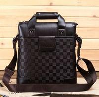 Free shipping mens leather plaid body across bag shoulder bag totes bag for business bolsos borsa bolsas sacs Tasche saco