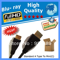 400PCS/ LOT 6FT HDMI Cables Standard A type to Mini(C) type for phone Xperia arc evo 4g hdtv
