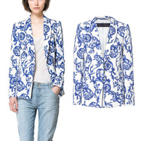 Fashion autumn new arrival blue and white porcelain ceramic print casual suit outerwear female top