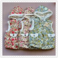 Autumn Girls' Lovely Flower Cotton Waistcoat Vest For Girls Zhilet Zhiletka Winter 9006Sunlun Russian Support Free Shipping 2014
