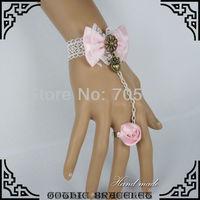 Lolita Belly Dance Pink Rose Flower Finger Band White Lace Slave Bracelet W. Love Heart Chain Women Bracelets & Bangles 5Pcs