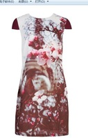 Free shipping  European and American fashion retro elegant style peach bloom dress CT6310