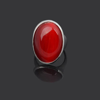 Min.order is $15 (mix order),Hot Sale Fashion Elegant Silver Plated Zinc Alloy Oval Bloody Red Resin Finger Ring,Nickle Free