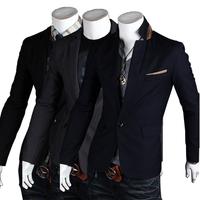 hot sale free shipping 2013 spring  fashionable casual Men one button men's slim suit /black navy blue dark grey M L XL XXL