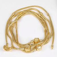 "Lot 5PCS 3MM 8.6"" Gold Plated SNAKE CHAIN Bracelet Fit European Beads Charm Bulk"