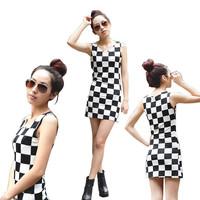Free shipping  2014 summer women's chessboard black and white checks elegant plus size slim sleeveless vest one-piece dress