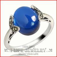 Fashion Jewelry Womens 925 Sterling Silver Retro Sapphire Ring Enhancers Gems Setting